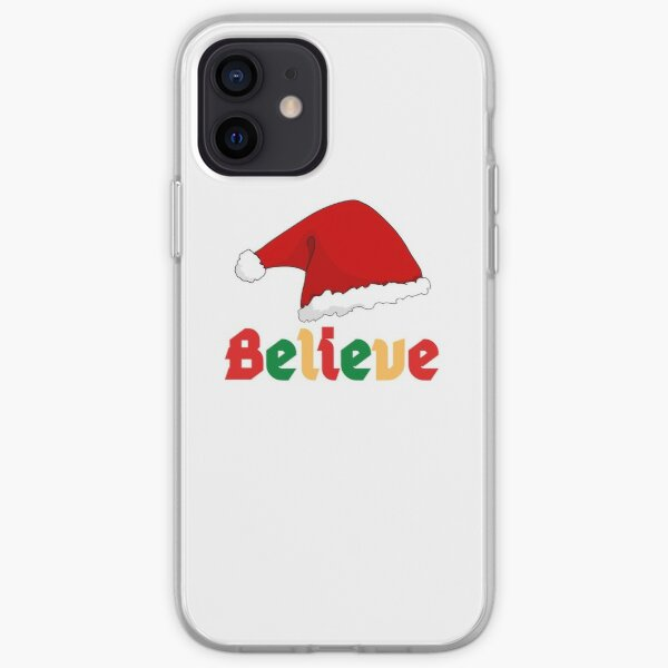 Believe Christmas graphic texts and Santa Hat iPhone Soft Case