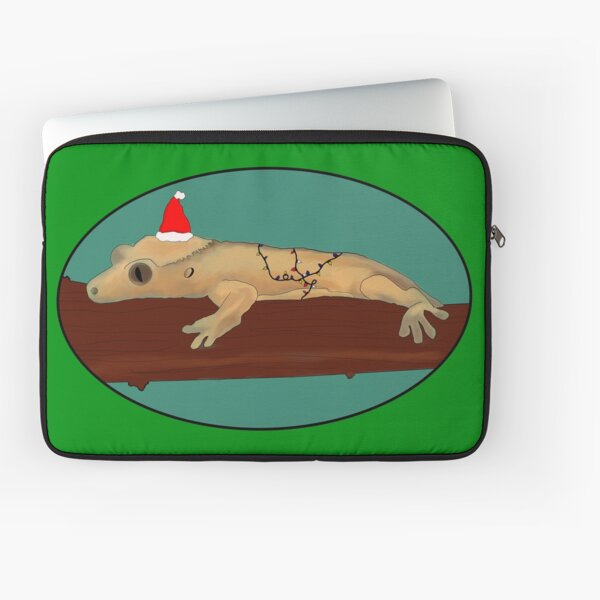 Christmas Crested Gecko Laptop Sleeve