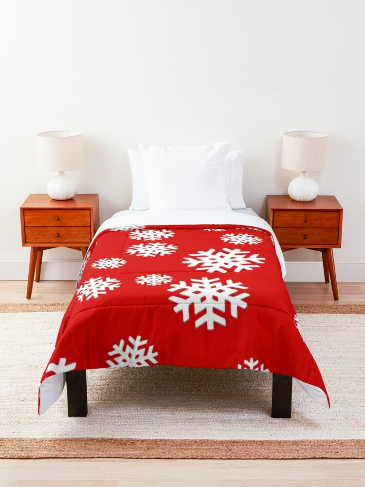 Alternate view of Snowflakes on Red Background! Comforter