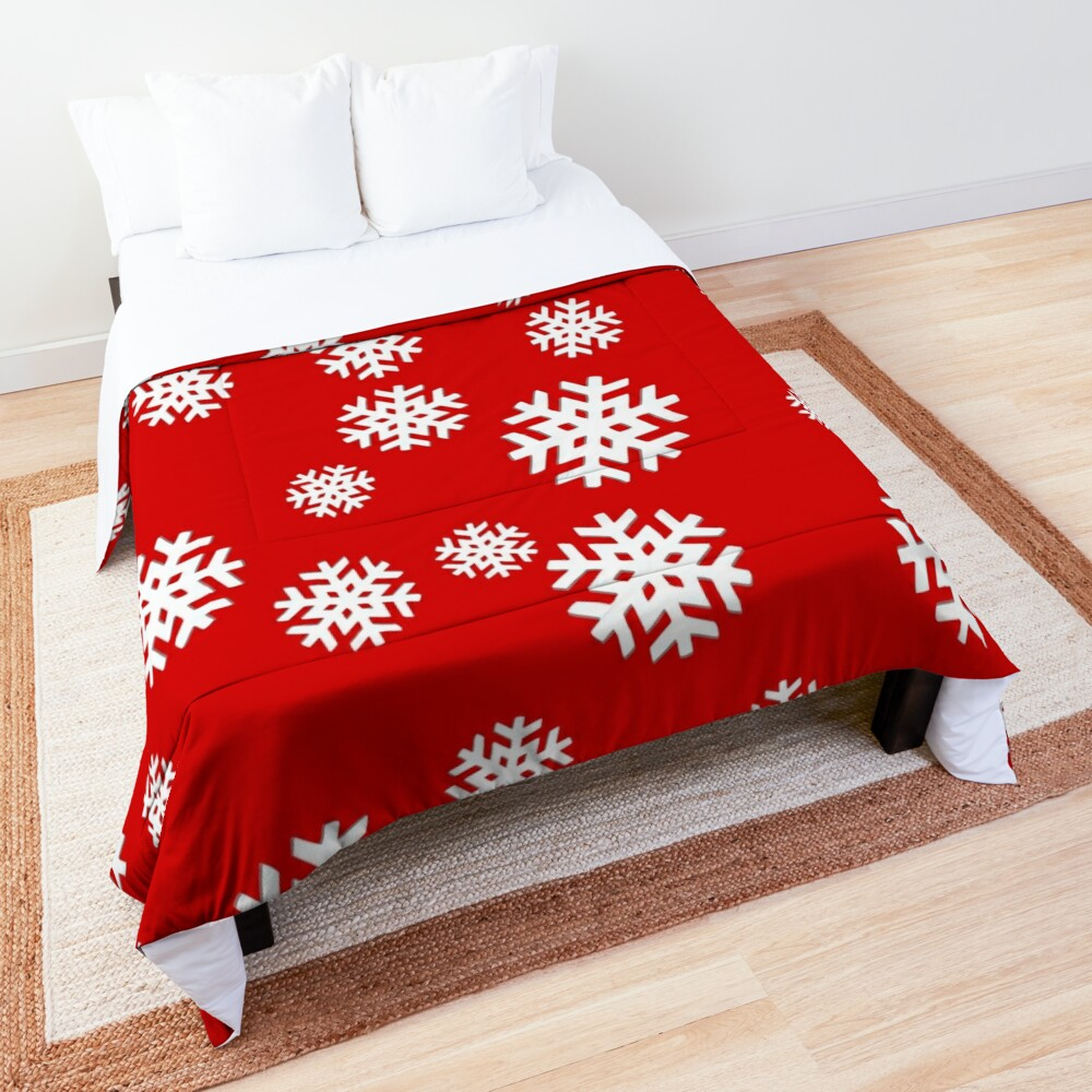 Snowflakes on Red Background! Comforter