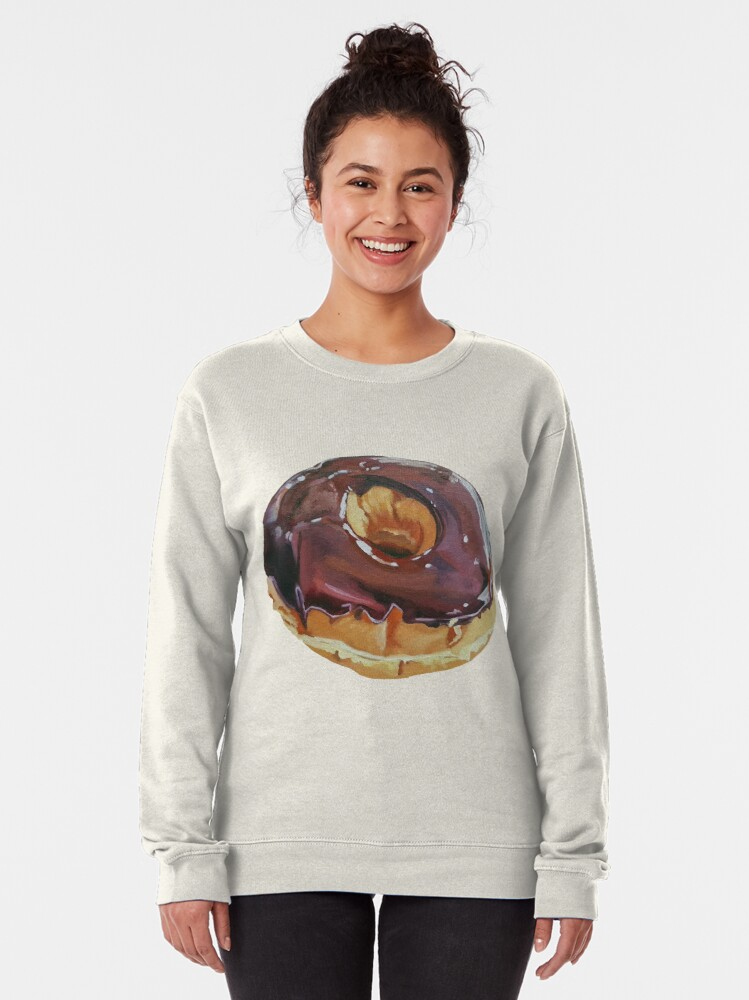 Alternate view of Chocolate Dip Donut painting (no background) Pullover Sweatshirt