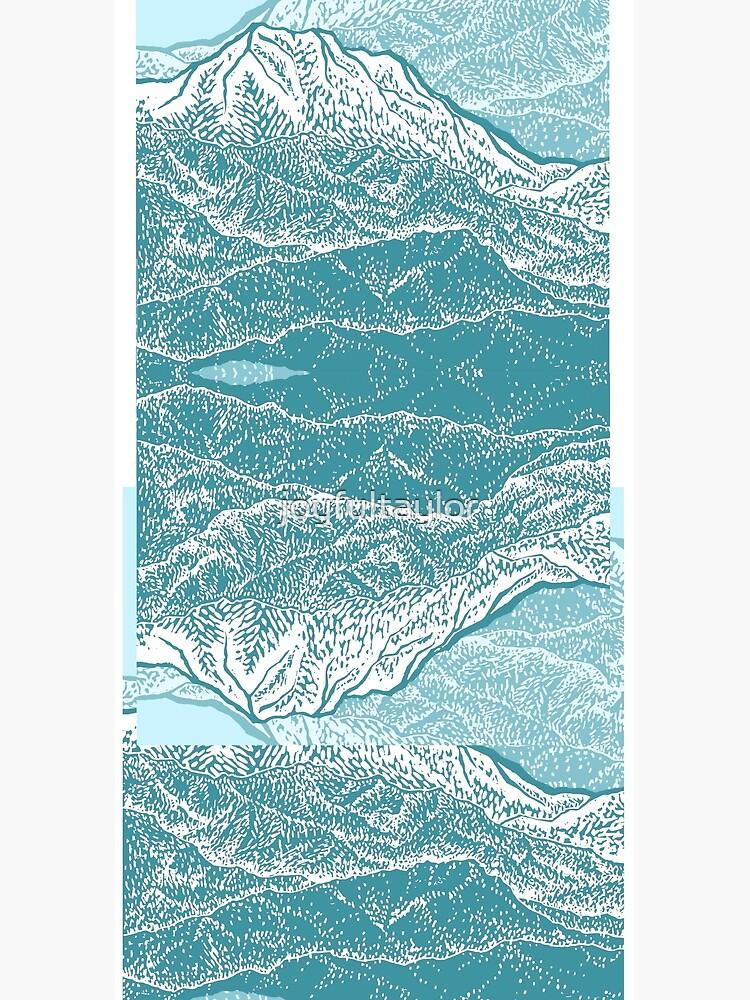 Distant Snow- 遠雪 : linocut by joyfultaylor