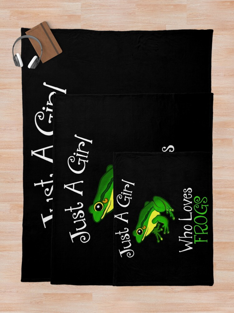 Alternate view of Just A Girl Who Loves Frogs Throw Blanket
