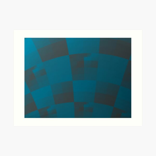 Squares Abstract Pattern Blue Art Print