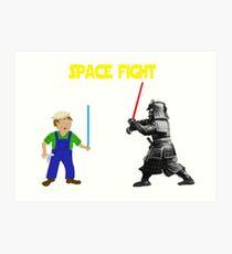 Space Fight Battle Scene Art Print