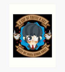 Lámina artística Una taza de café al día, aleja a mi demonio interior