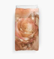 Heart Of A Rose - Gold, Peach, Orange Duvet Cover