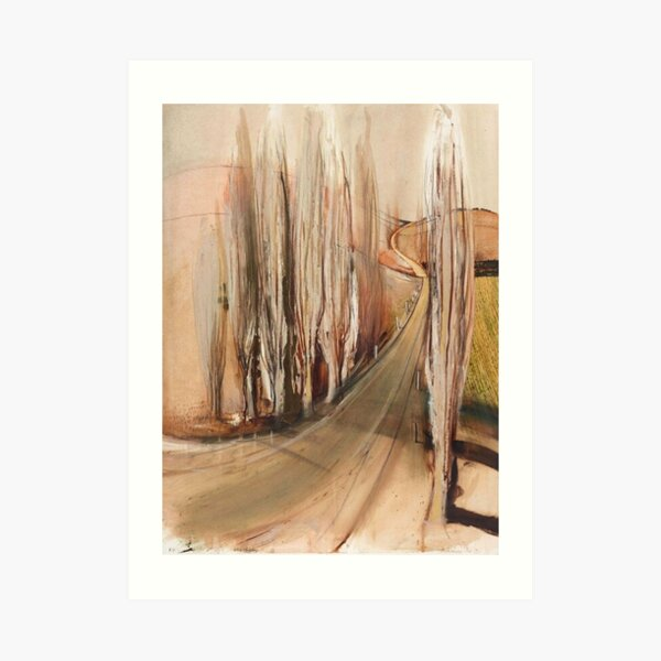 Brett Whiteley- 'Memory from School - Winter Poplars' (1992) Original oil painting by the great Australian artist Art Print