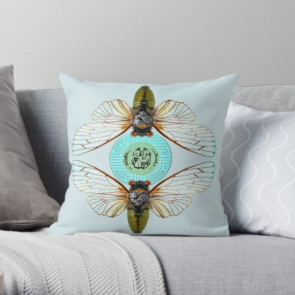 Wireless Cicada Throw Pillow