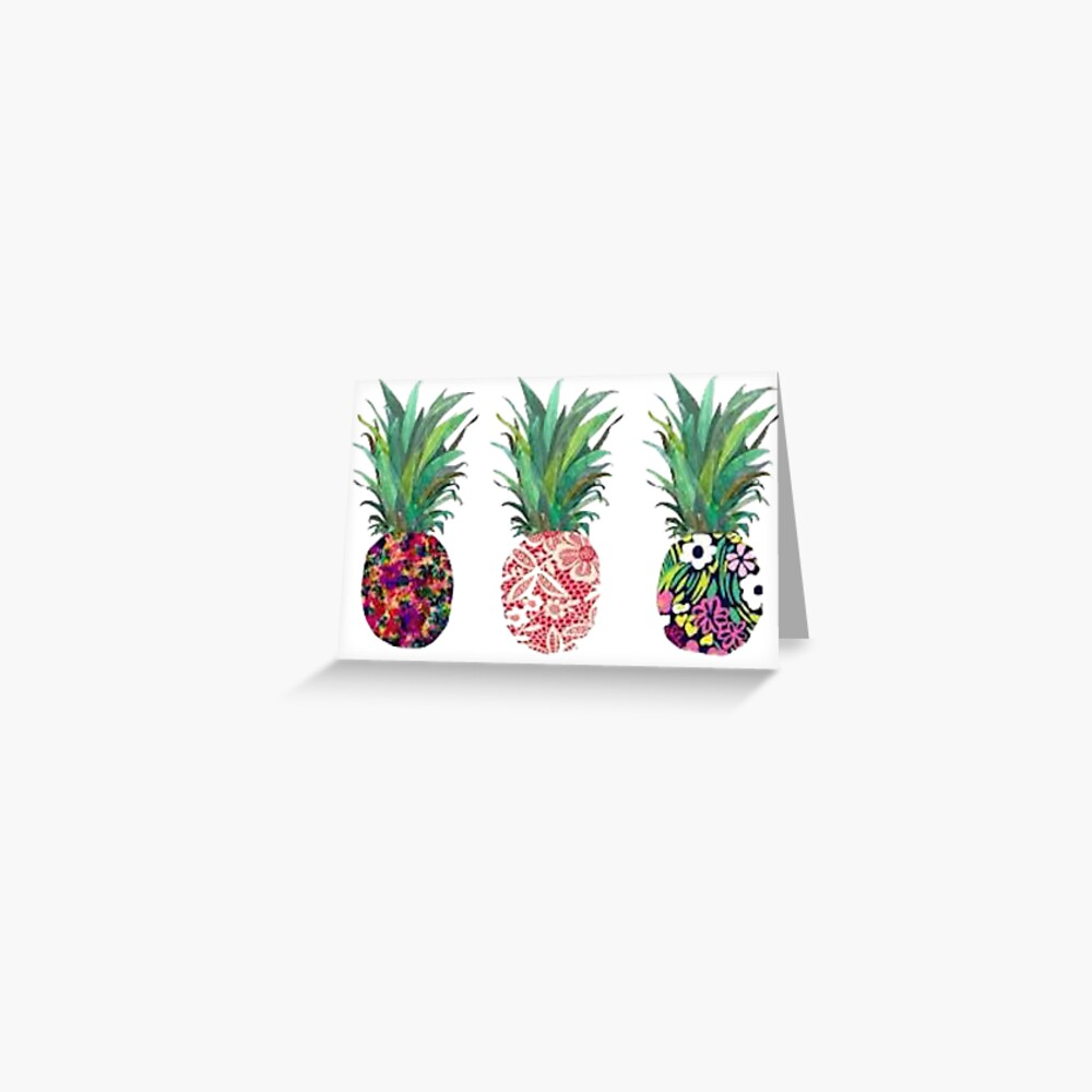 Three Pineapples in a Row Card