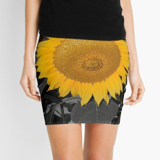 A Lone Sunflower Stands Out In A World Of Black And White  Mini Skirt
