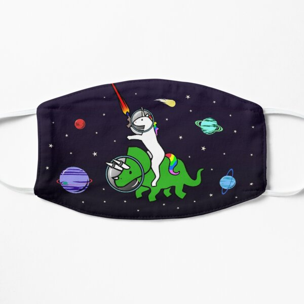 Unicorn Riding Triceratops In Space Flat Mask
