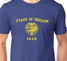 Blue and Gold Flag of Oregon with Shield Unisex T-Shirt