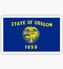 Blue and Gold Flag of Oregon with Shield Sticker