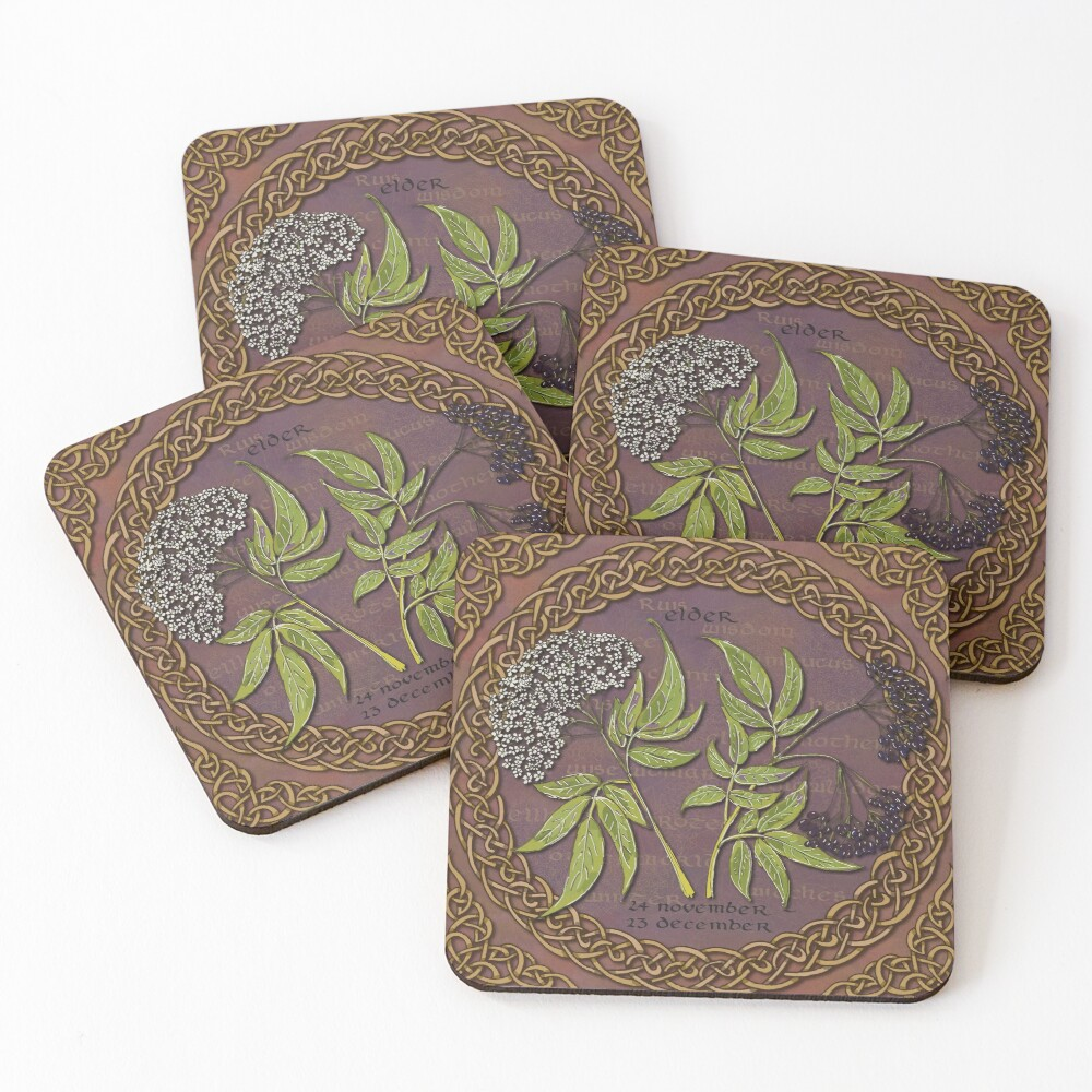 Celtic Tree Calendar Elder Coasters (Set of 4)