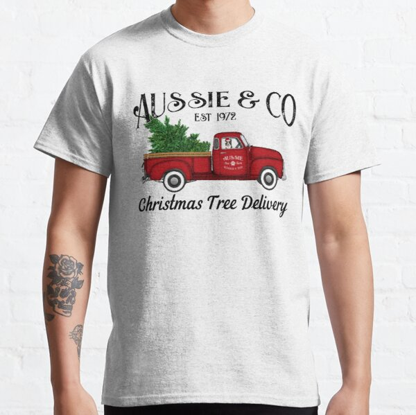 Aussie Australian Shepherd Christmas Tree Antique Truck Classic T-Shirt