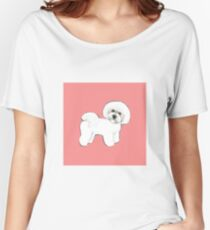 Bichon Frise dogs on coral pink / Christmas gift for dog lover, girls gift, cute gift, coral pink gift, pretty gift, dog lovers gift, Bichon Mom gift, Holiday gift Women's Relaxed Fit T-Shirt