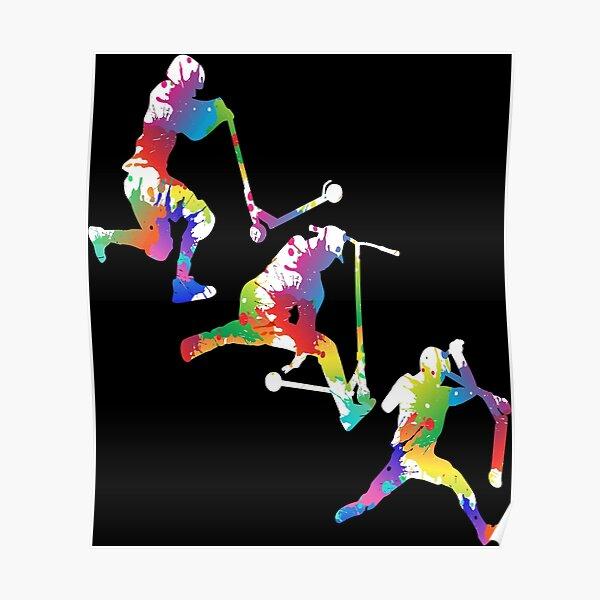 Motif trottinette acrobatique Poster