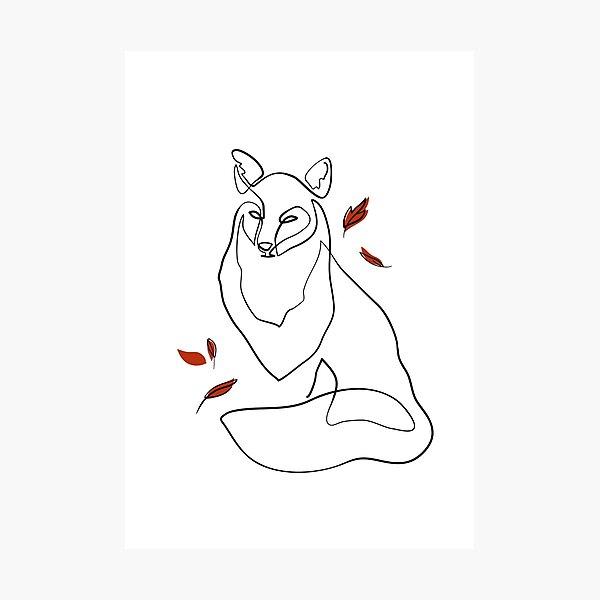 Fox - Minimal line art Photographic Print