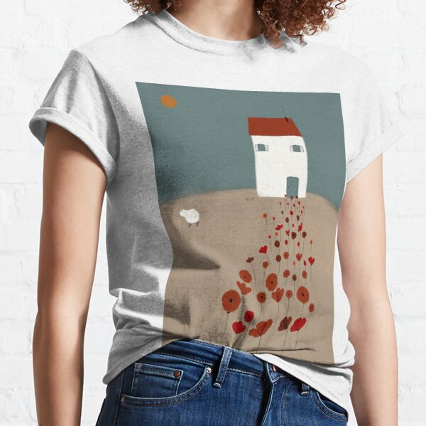 Camino de amapolas digital art, poppy, poppies, illustration Classic T-Shirt