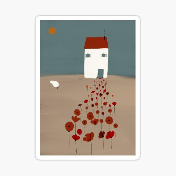 Camino de amapolas digital art, poppy, poppies, illustration Sticker