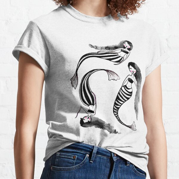 Drifting Along The Currents - Striped Mermaids 2 of 2 Classic T-Shirt