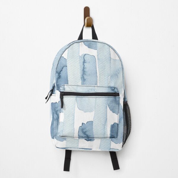 Pastel blue watercolour pattern - lines and blobs Backpack