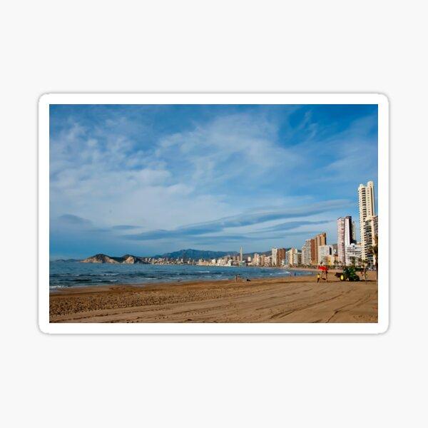 La playa de Levante de Benidorm Costa Blanca España Pegatina