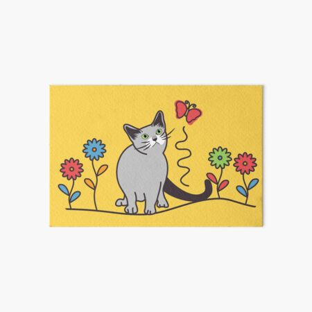 Russian Blue Cat and Flowers Art Board Print