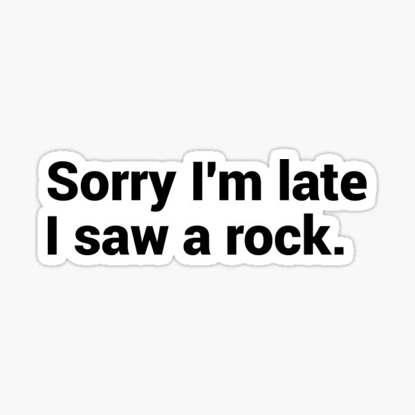 Sorry I'm Late I Saw A Rock Sticker