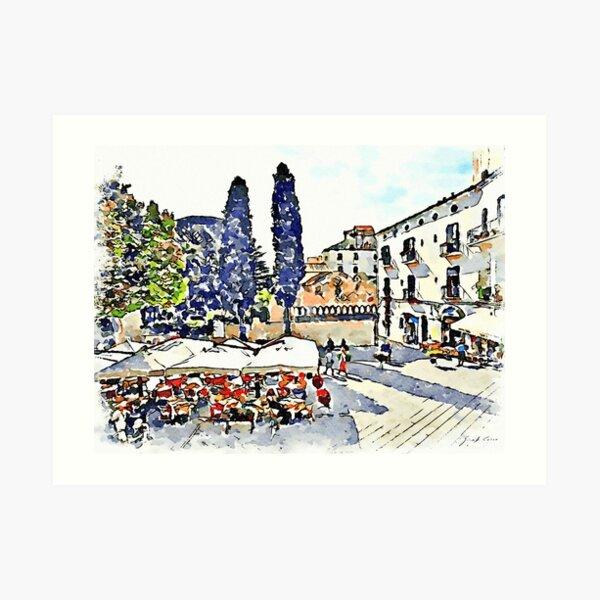 Ravello: restaurant in the square Art Print
