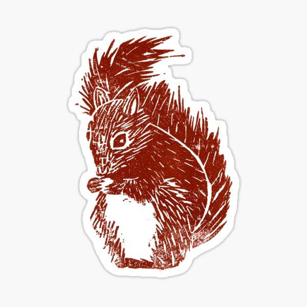 Squirrel Woodblock Print  Sticker