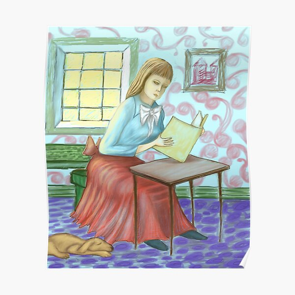 Girl Reading Book - Impression   Poster