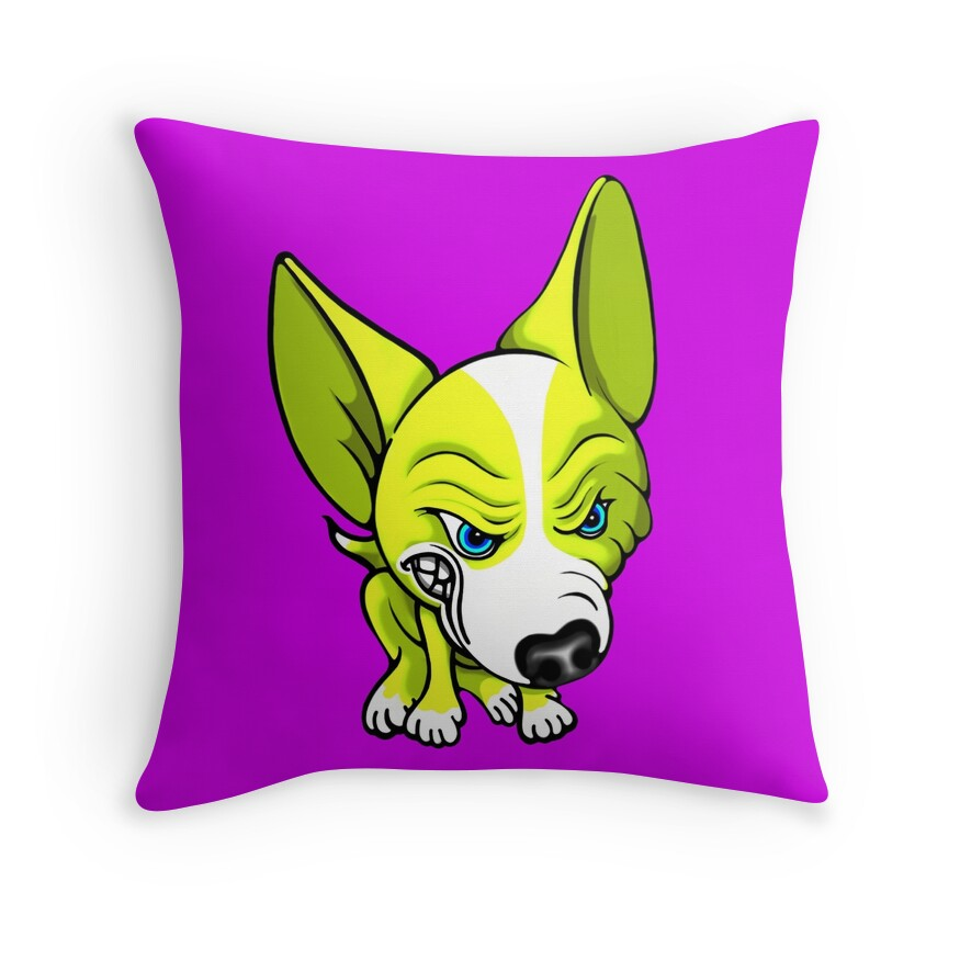 Quot Angry Chihuahua White Amp Yellow Quot Throw Pillows By