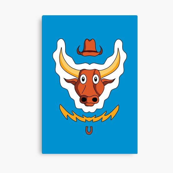 Cute Adorable Cartoon Bull, Farm Animal Canvas Print
