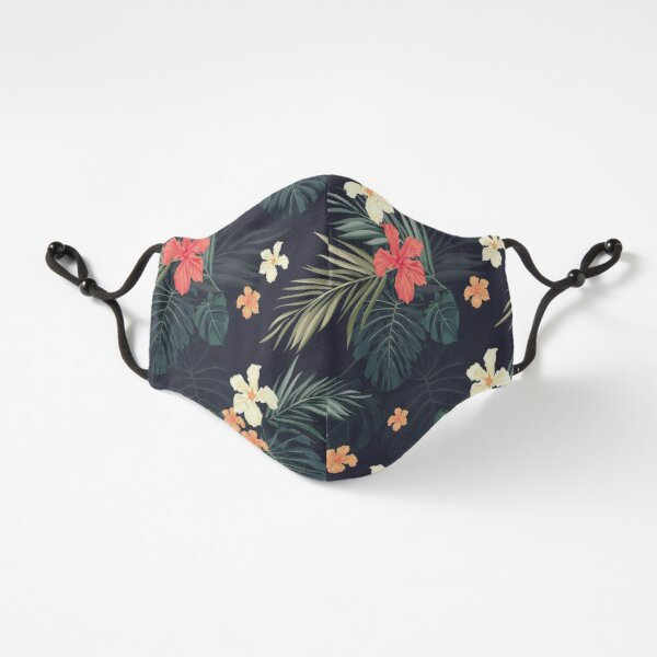 Dark tropical flowers Fitted 3-Layer