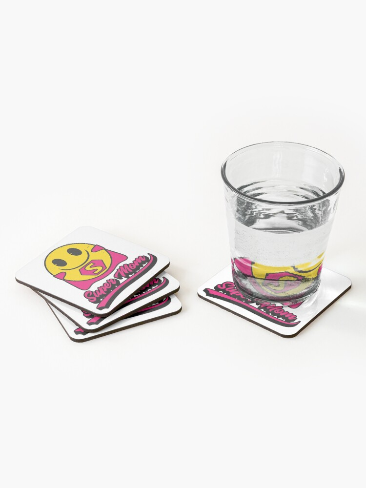 Alternate view of Super Mom Emoji Company Yellow Face Coasters (Set of 4)