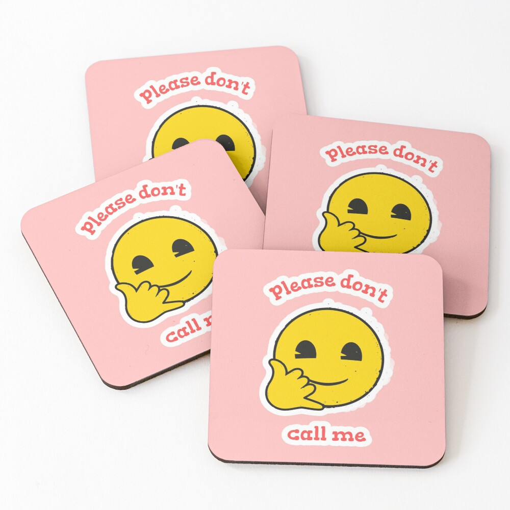 Please Don't Call Me Emoji Company Yellow Face Coasters (Set of 4)