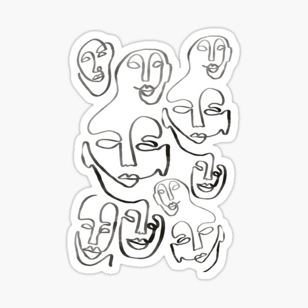 Line art faces one line Sticker