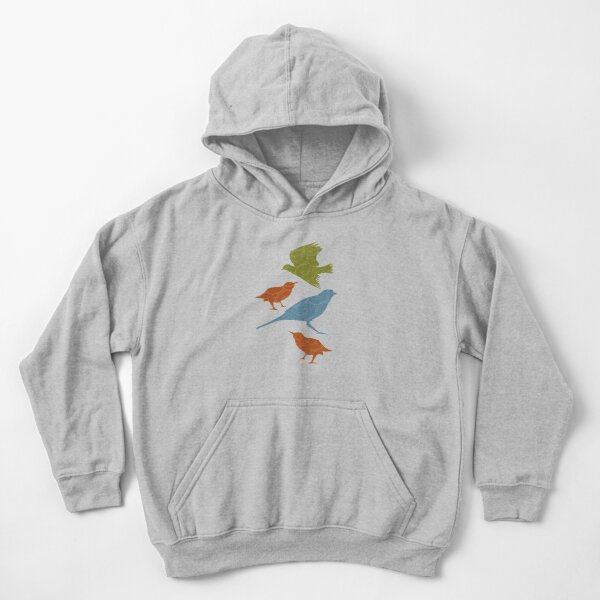 Colorful Birds and Doodles Kids Pullover Hoodie