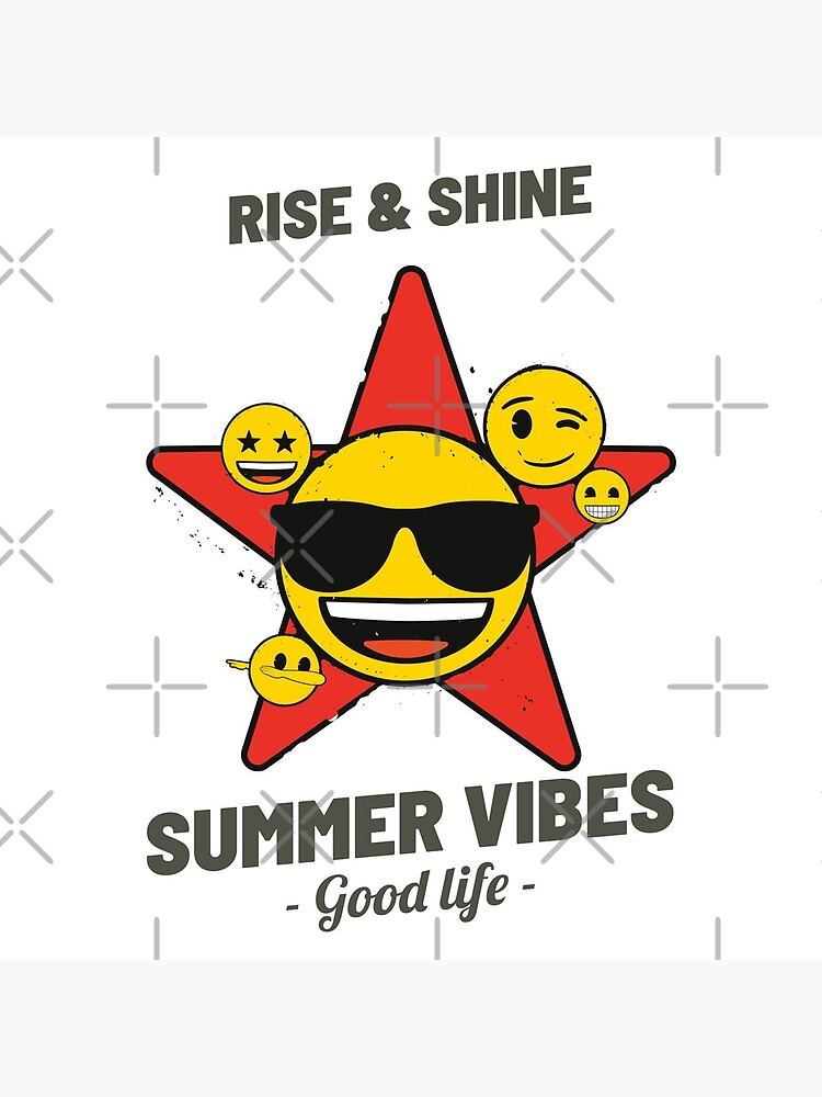 Summer Vibes Emoji Company Yellow Faces In Red Star by LAQueenDee