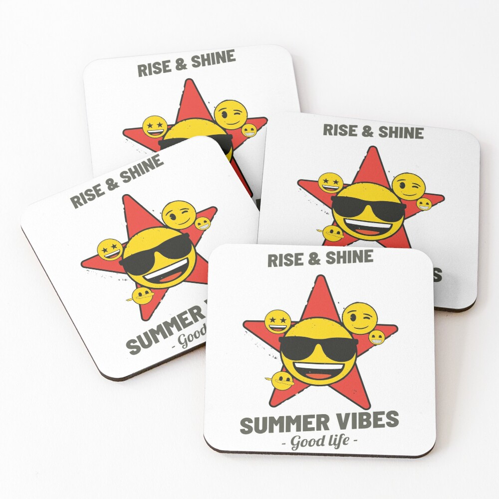 Summer Vibes Emoji Company Yellow Faces In Red Star Coasters (Set of 4)