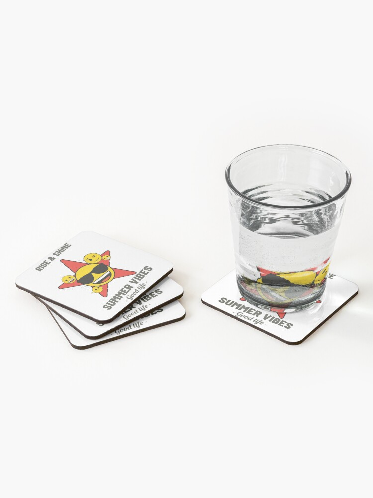 Alternate view of Summer Vibes Emoji Company Yellow Faces In Red Star Coasters (Set of 4)