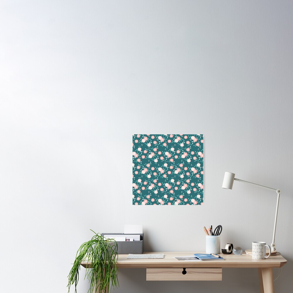 Green and Pink Floral  Poster