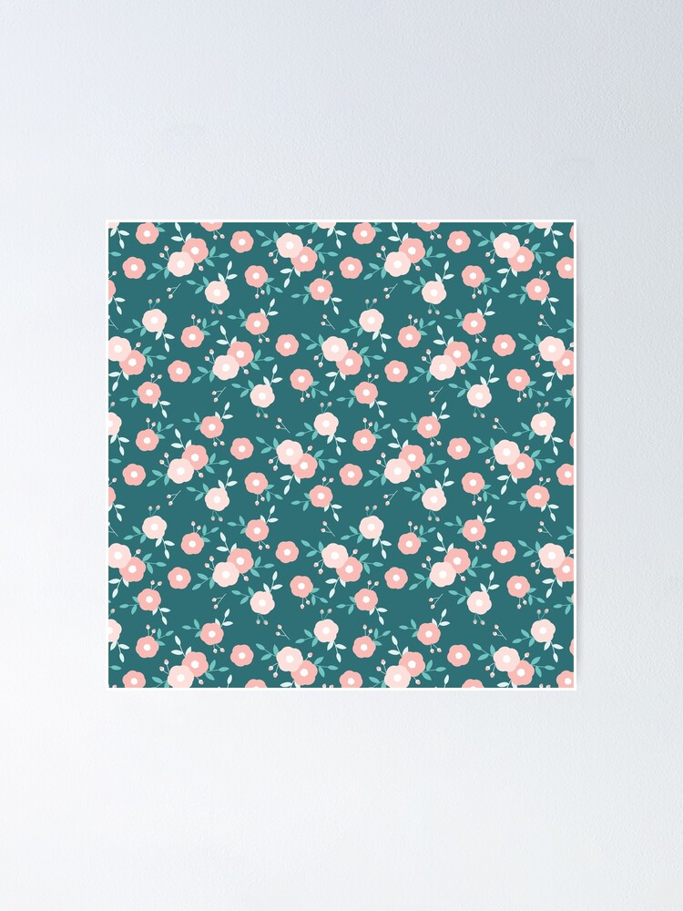 Alternate view of Green and Pink Floral  Poster
