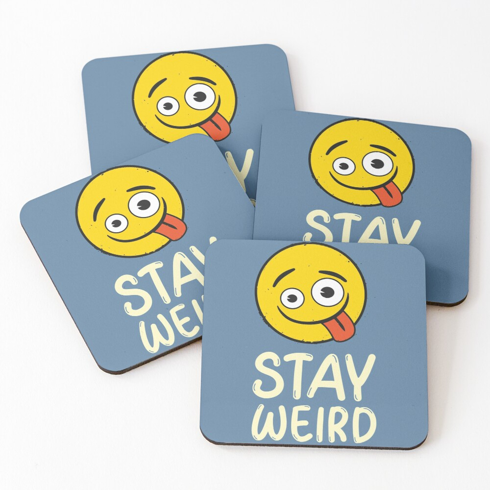 Stay Weird Funny Emoji Company Yellow Face Coasters (Set of 4)