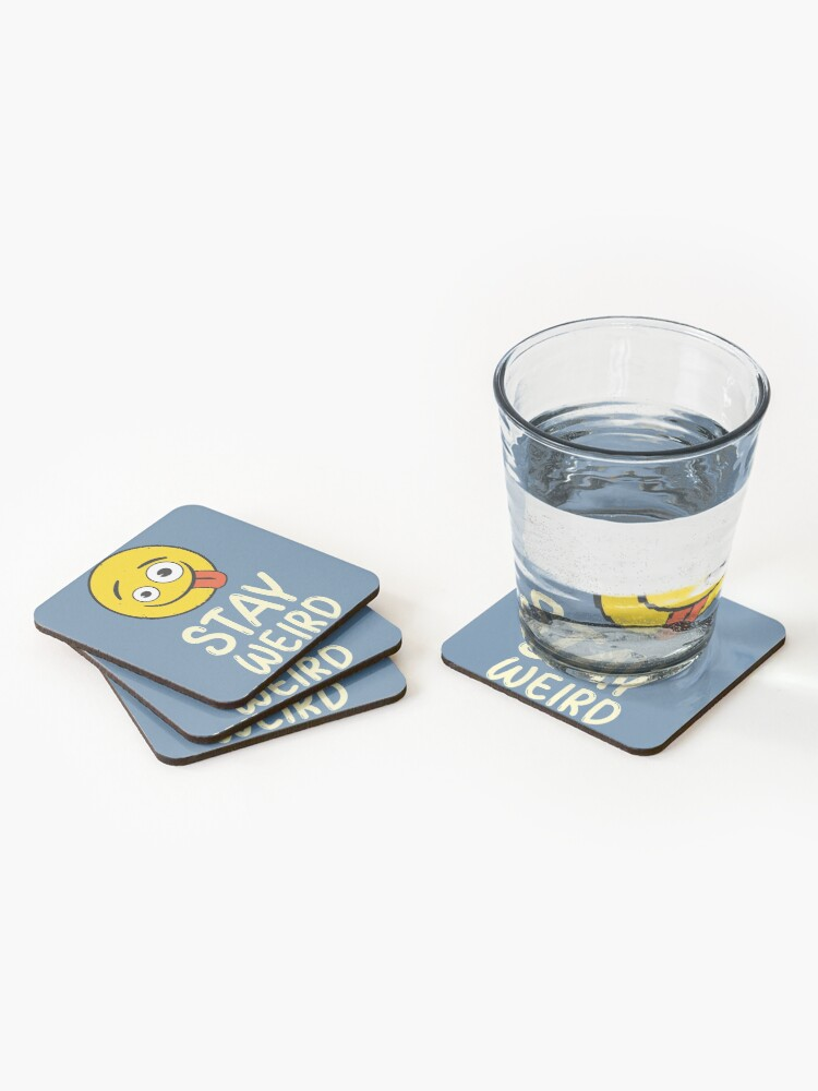 Alternate view of Stay Weird Funny Emoji Company Yellow Face Coasters (Set of 4)