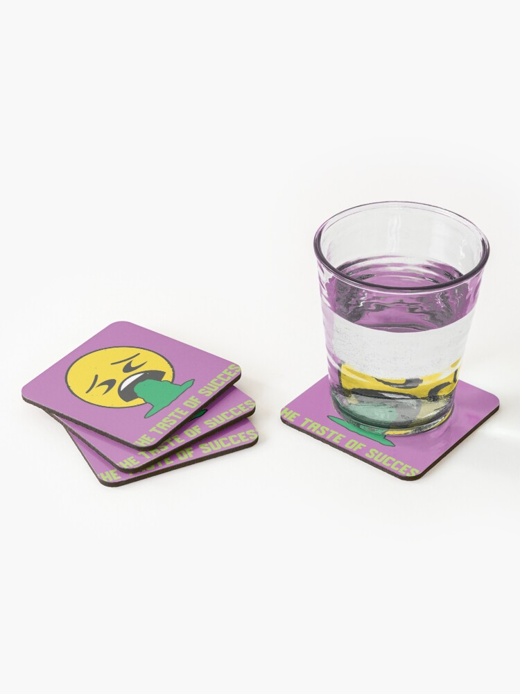 Alternate view of Funny Taste Of Success Emoji Company Sick Yellow Face Coasters (Set of 4)