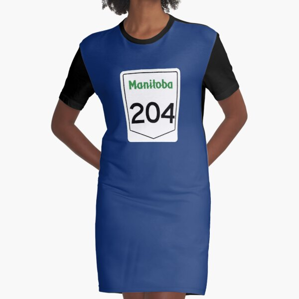 Manitoba Provincial Highway 204 (Area Code 204) Graphic T-Shirt Dress