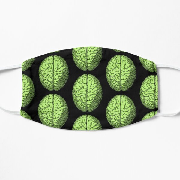 Green Colored Antique Head and Brain Anatomy Illustration Mask
